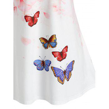 Plus Size Skew Neck Floral Butterfly Print Tee