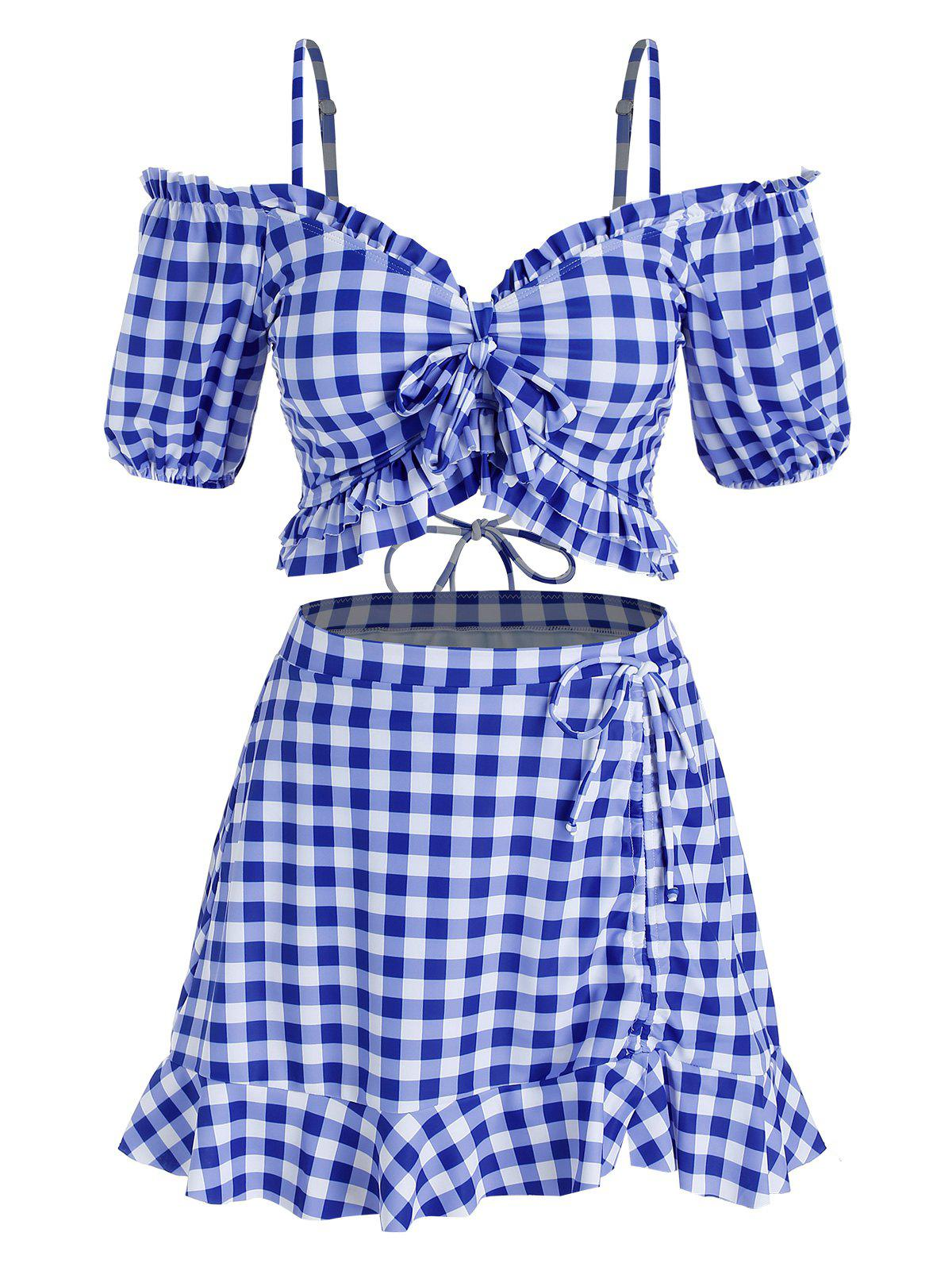 Plus Size Cold Shoulder Bowknot Gingham Three Piece Swimwear - BLUE 5X