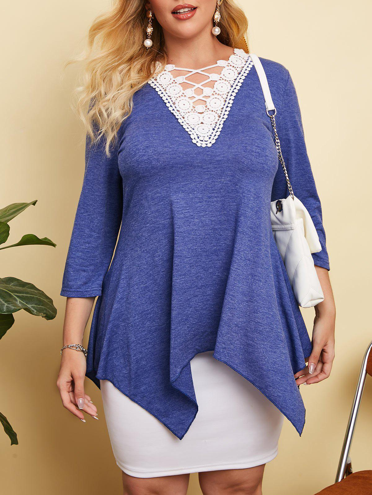 Crochet Lace Panel Heathered Plus Size Top - BLUE 2X