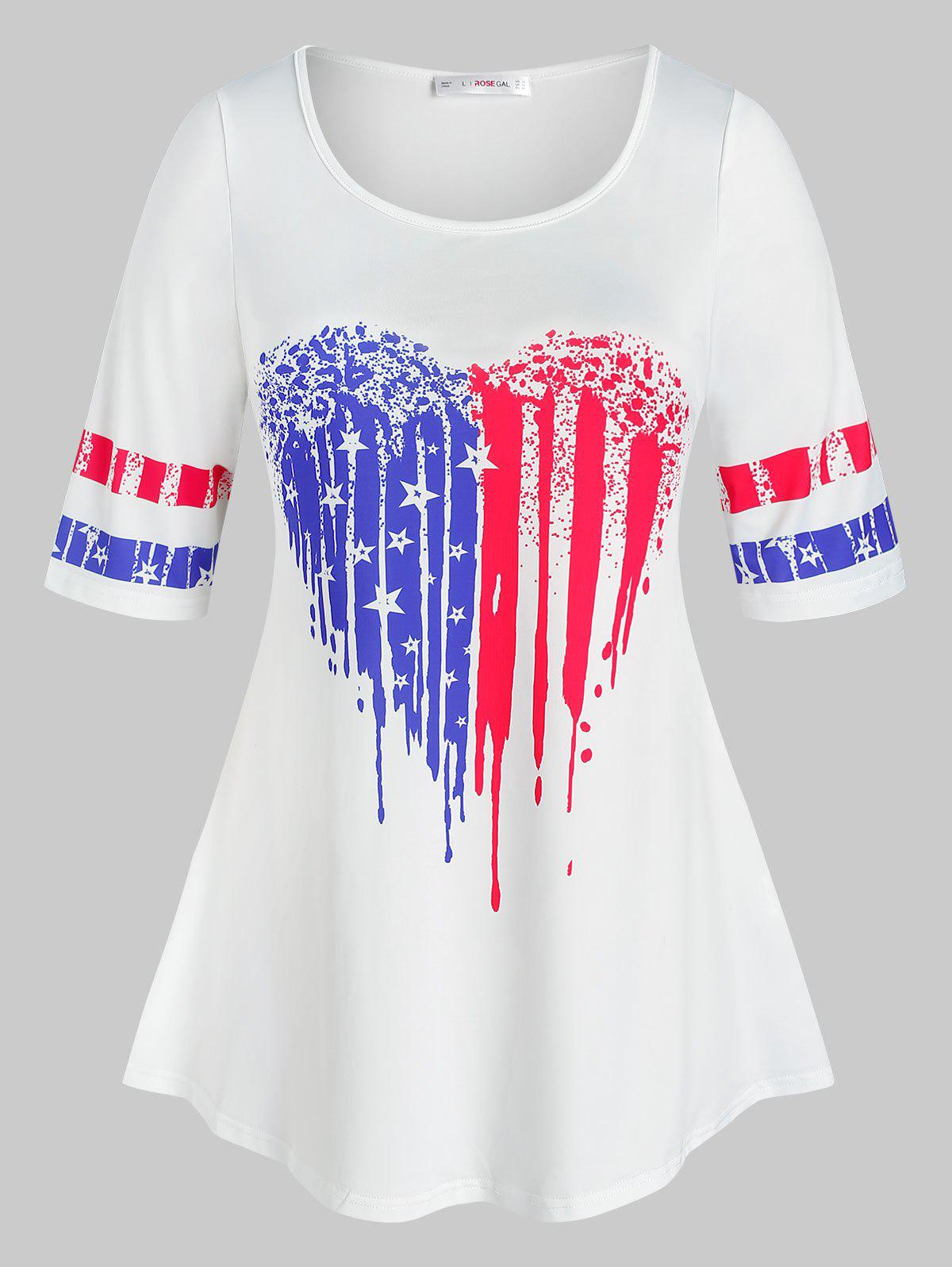 Plus Size American Flag Print Heart Pattern Tee - WHITE L