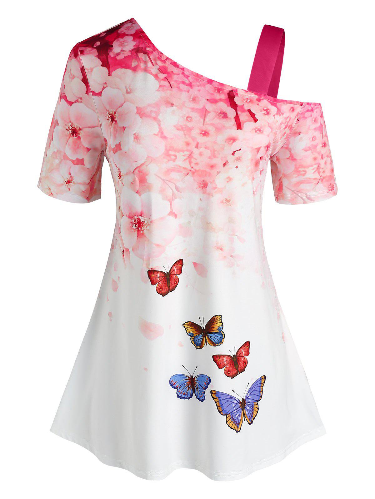 Plus Size Skew Neck Floral Butterfly Print Tee - WHITE 3X