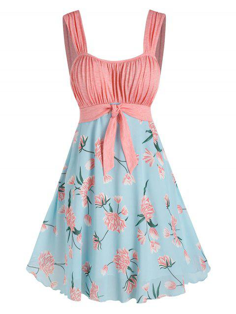 Floral Pattern Pleated Knot Colorblock Dress