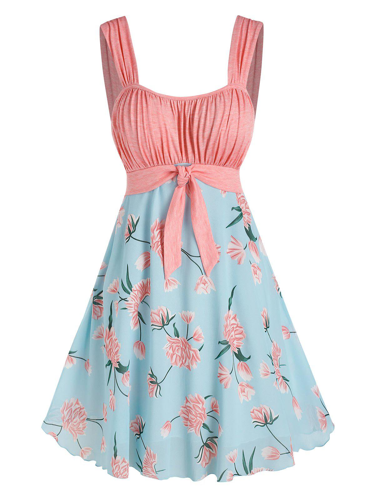 Floral Pattern Pleated Knot Colorblock Dress - multicolor XL