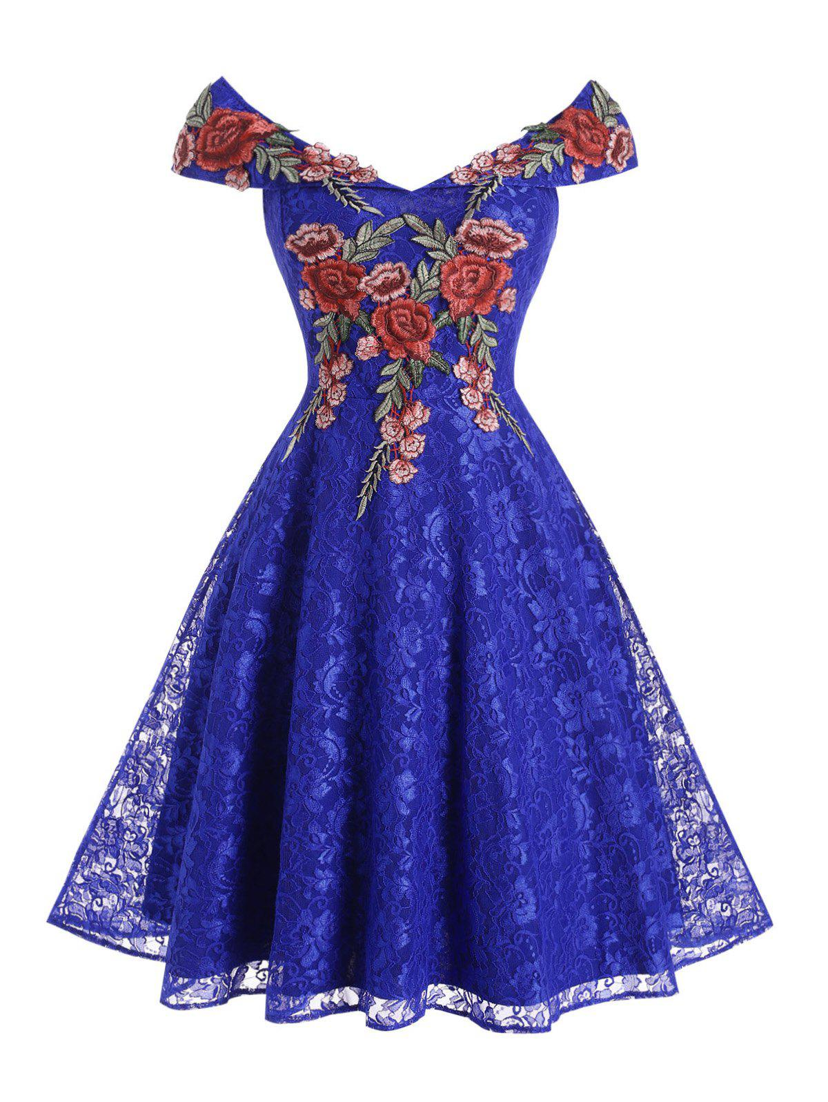 Flower Applique Lace Off Shoulder Foldover Dress - BLUE S