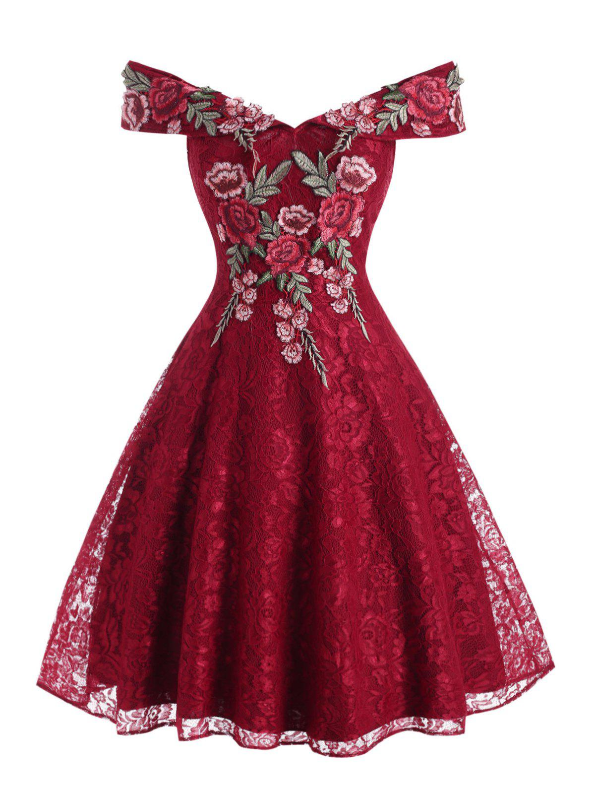 Flower Applique Lace Off Shoulder Foldover Dress - RED XL