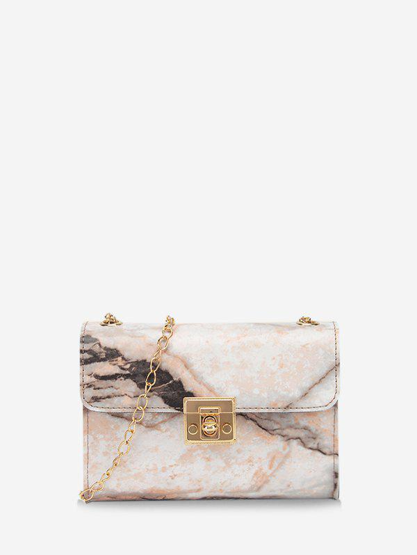Chain Marbling Pattern Cover Crossbody Bag - CAMEL BROWN