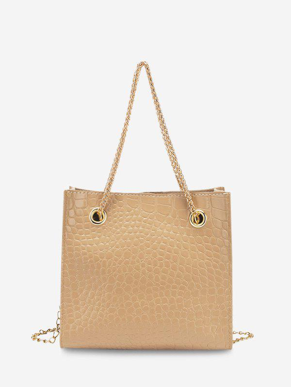 Stone Grain Textured Square Chain Shoulder Bag - BLANCHED ALMOND