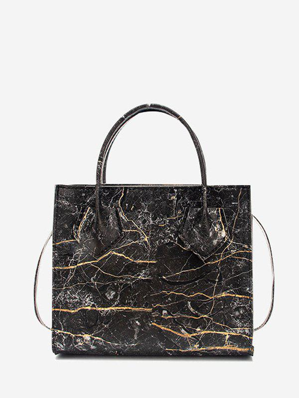 Printed Marbling Square Handbag - BLACK