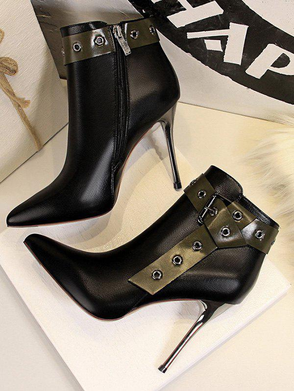Stiletto Heel Pointed Toe Eyelet Buckle Boots - BLACK EU 39