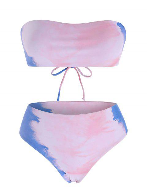 Tie Dye Lace Up Bandeau Bikini Swimwear