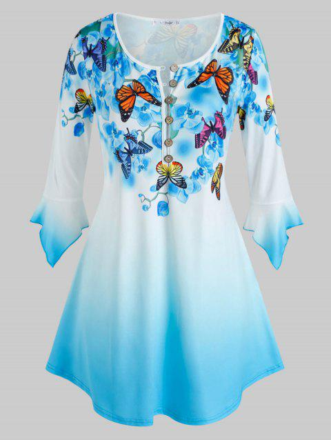 Plus Size Butterfly Floral Print Bell Sleeve Ombre Color Tee