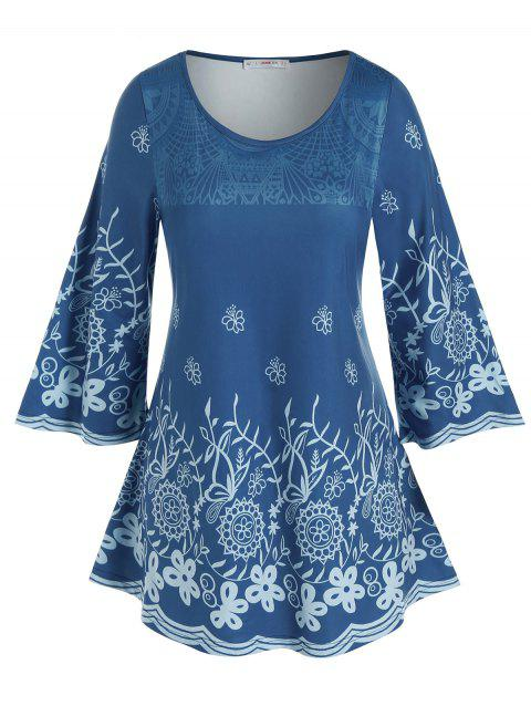 Plus Size Flower Patterned Casual Tunic Tee