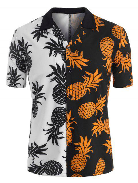 Colorblock Pineapple Pattern Beach Shirt