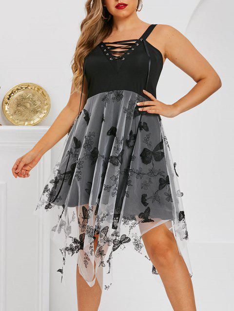 Plus Size Lace-up Butterfly Embellished Mesh Handkerchief Dress