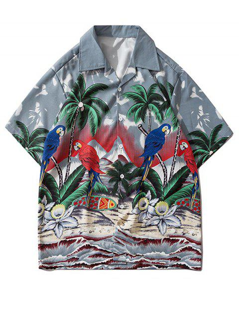 Palm Tree Parrot Beach Scenery Shirt
