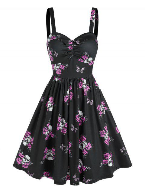 Sweetheart Neck Skull Butterfly Print Ruched Fit and Flare Dress