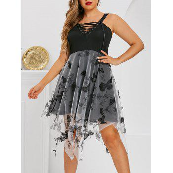 Plus Size Lace-up Butterfly Embellished Mesh Handkerchief Dress, Black