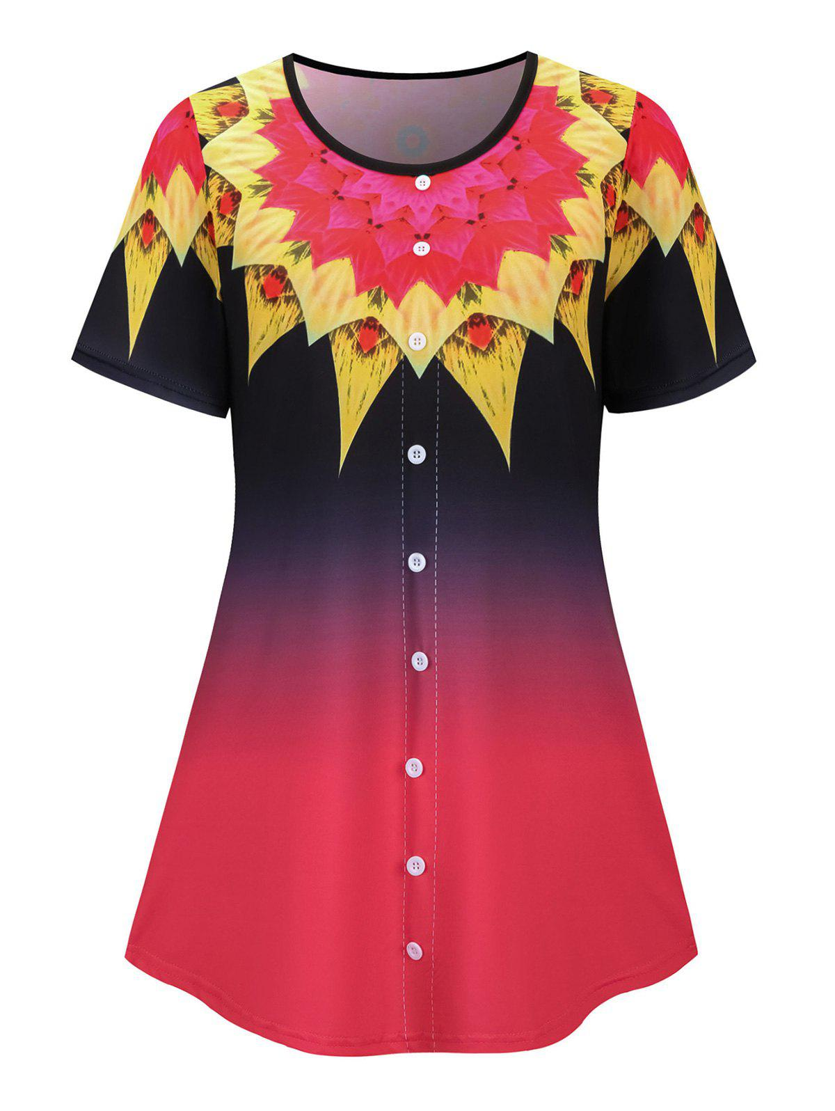 Plus Size Mock Button Ombre Flower Short Sleeve Tee - RED 5XL