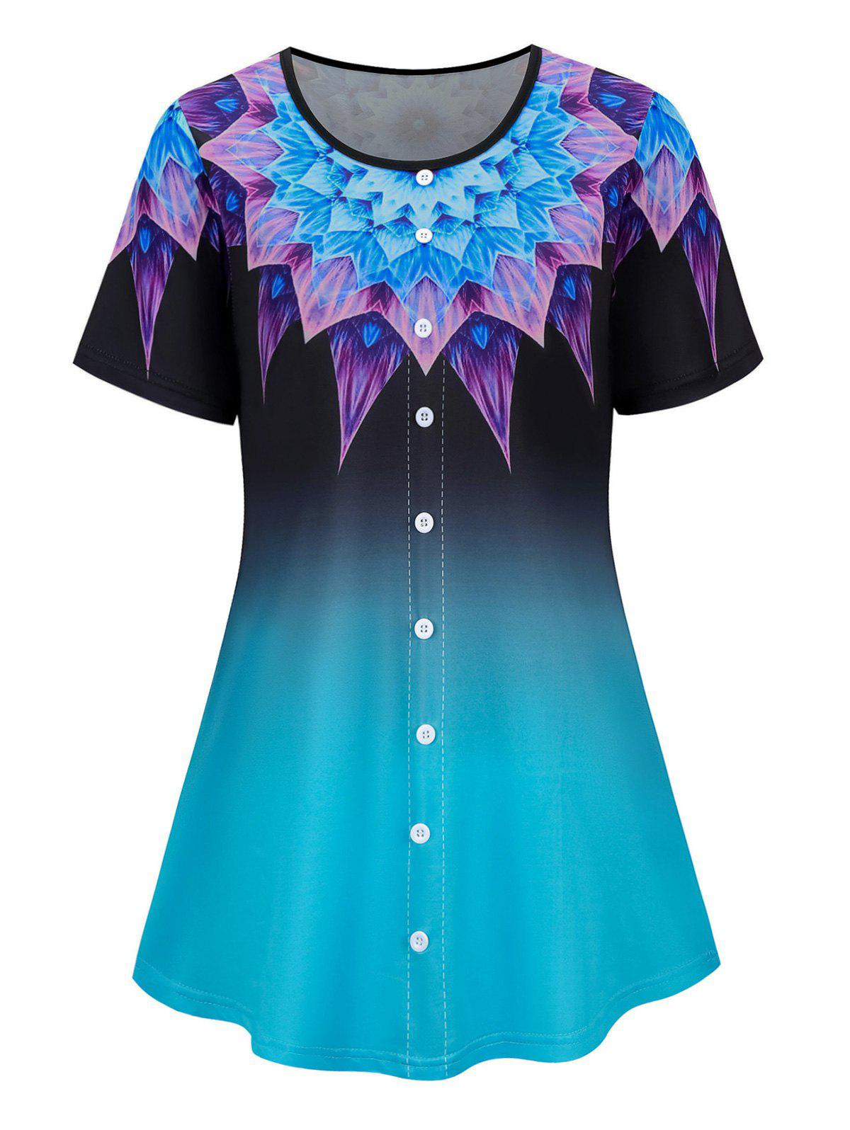 Plus Size Mock Button Ombre Flower Short Sleeve Tee - LIGHT BLUE 5XL