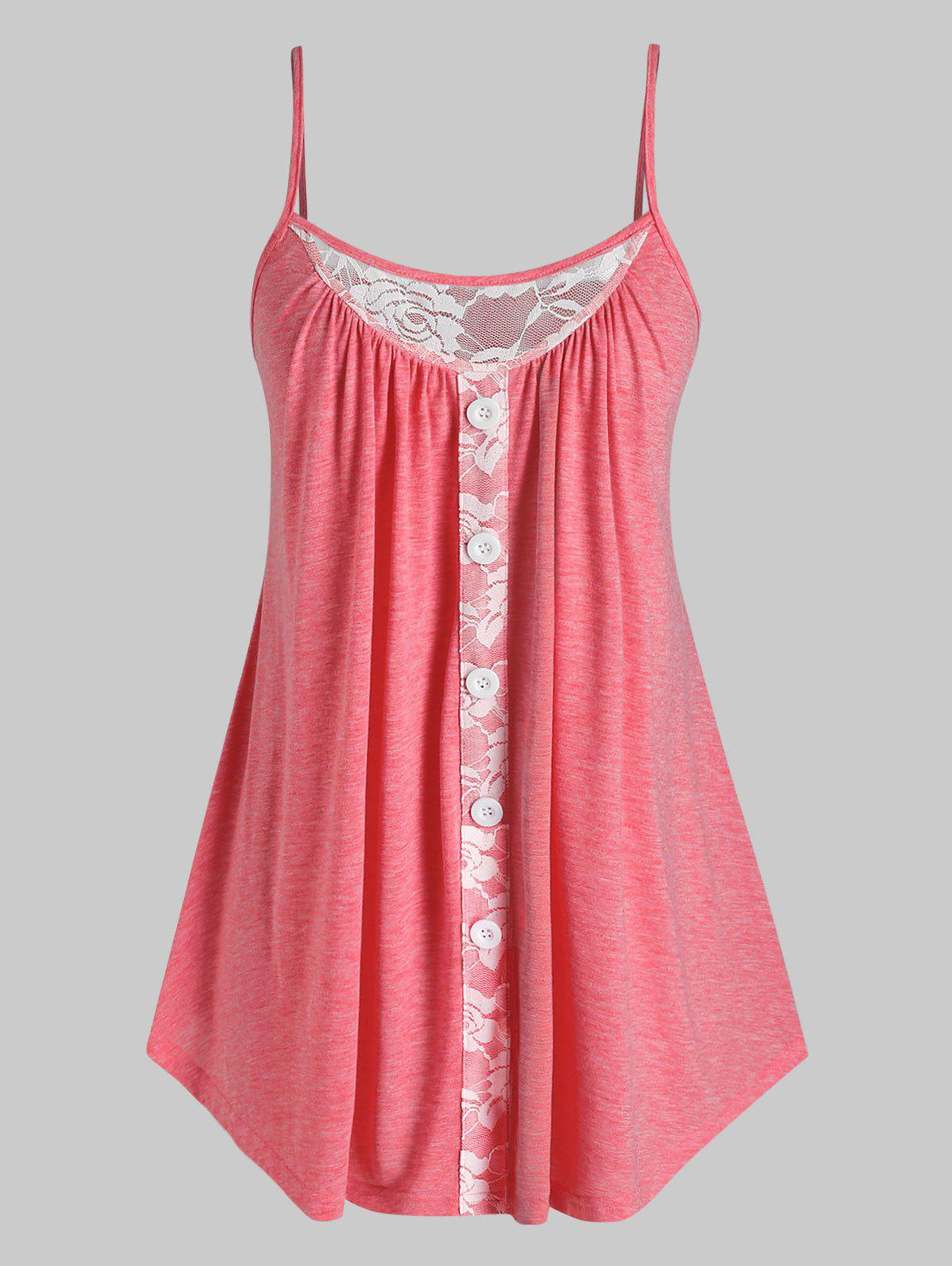 Plus Size Lace Insert  Tank Top - RED 5X
