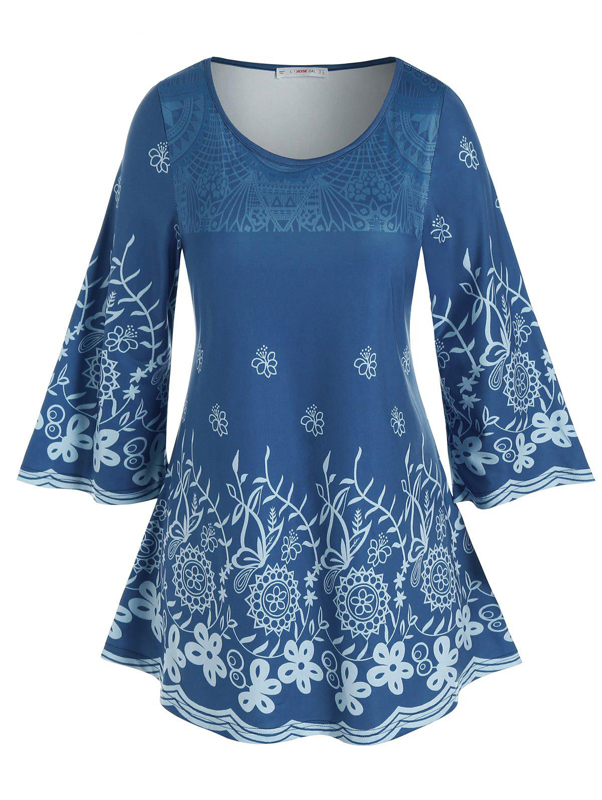 Plus Size Flower Patterned Casual Tunic Tee - BLUE L