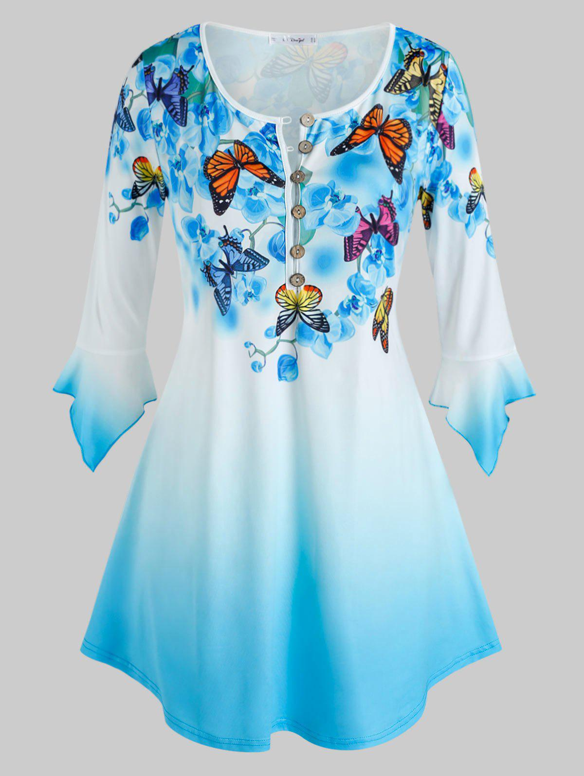 Plus Size Butterfly Floral Print Bell Sleeve Ombre Color Tee - BLUE 2X