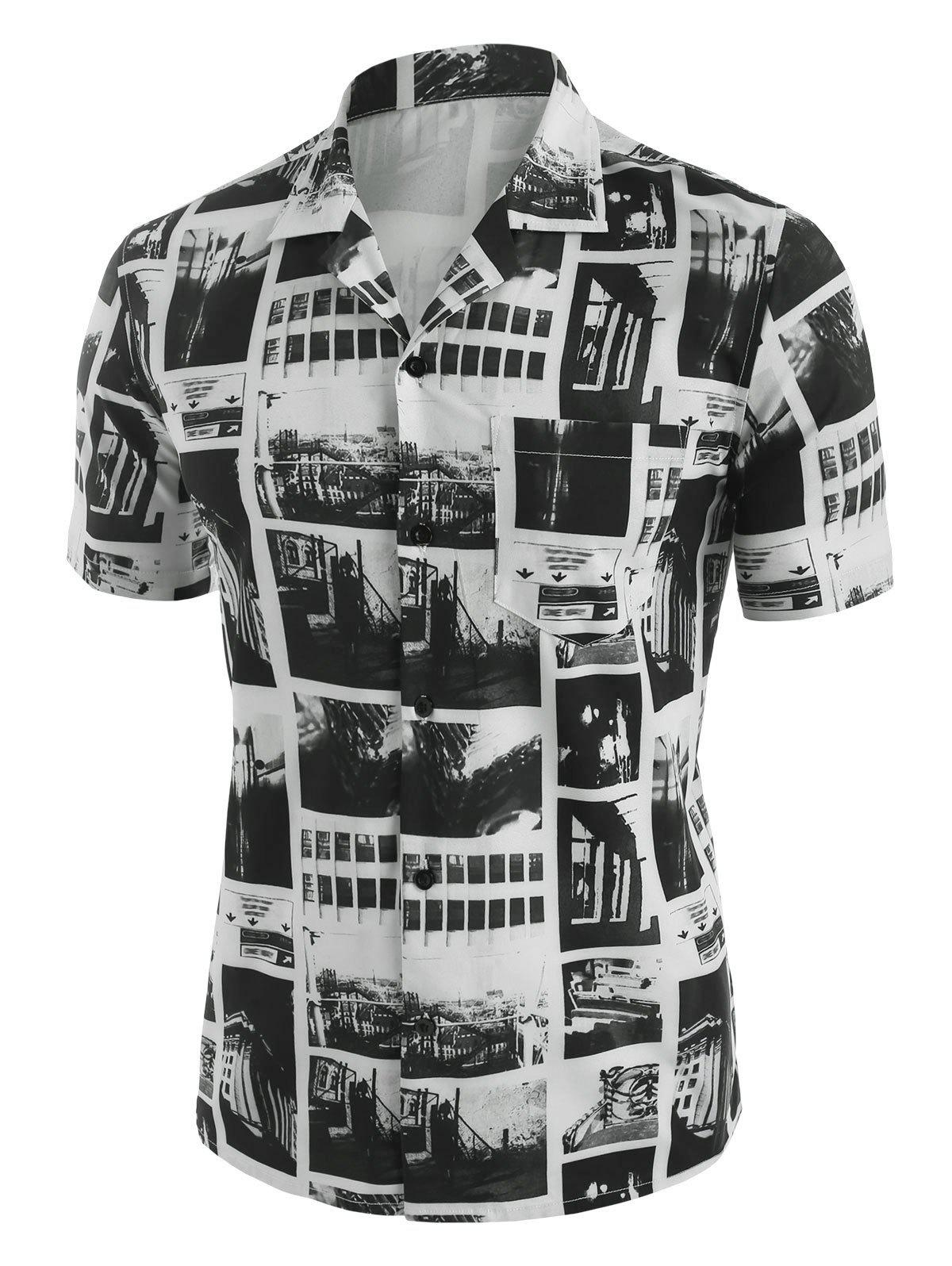 Vintage Print Short Sleeve Shirt - WHITE M