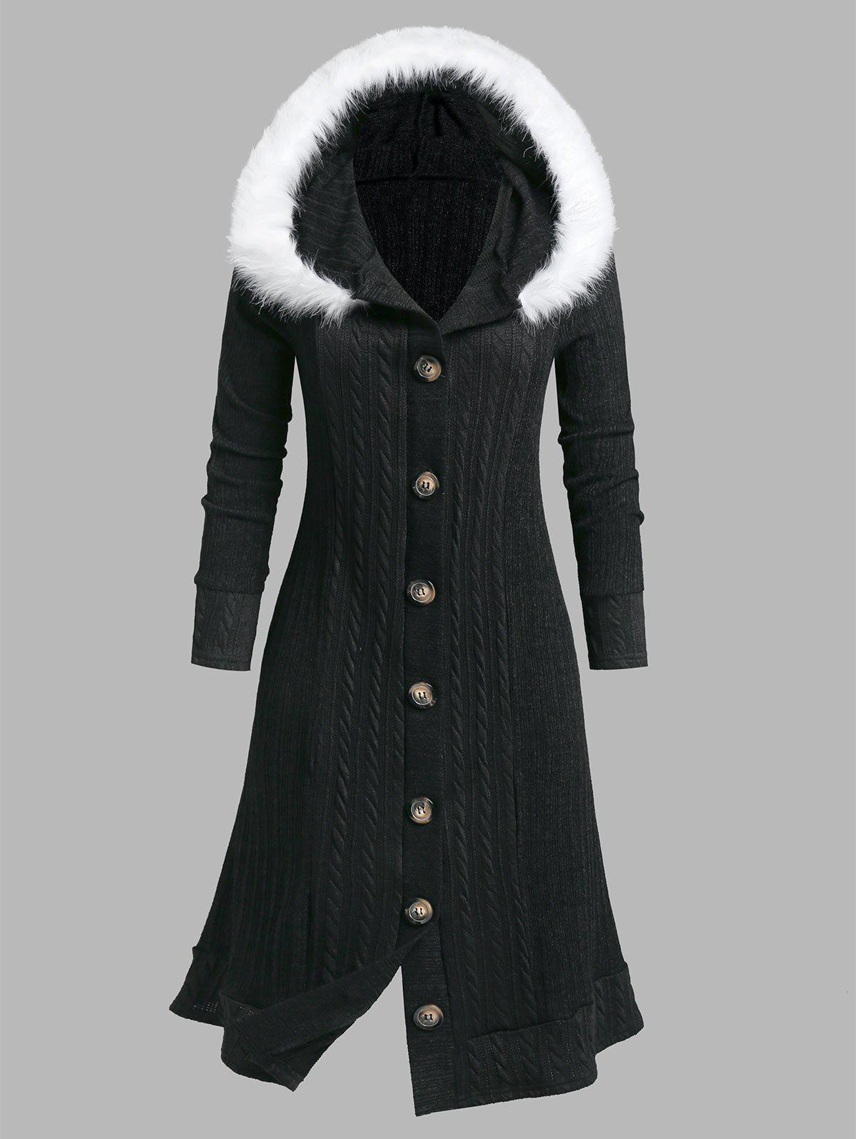 Plus Size Fluffy Hooded Braid Knitted Coat - BLACK 5X