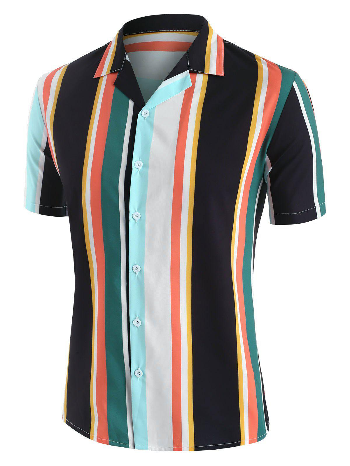 Short Sleeve Contrast Stripe Shirt - multicolor M