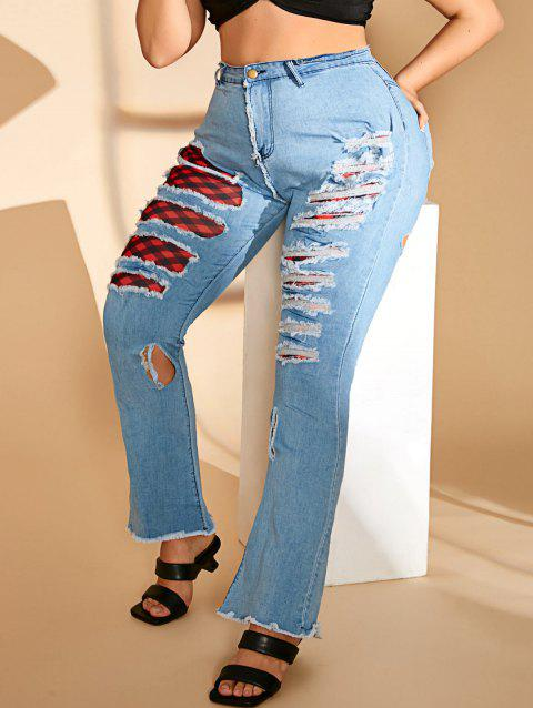 Leopard Plaid Panel Ripped Frayed Plus Size Flare Jeans