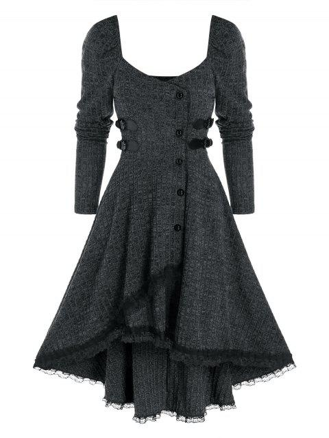 Lace Trim Ribbed Mock Button High Low Dress