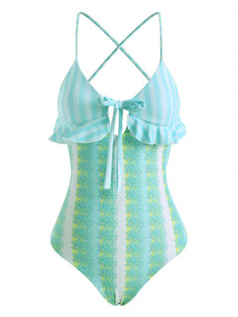Striped Floral Bowknot Lace Up Ruffle One-piece Swimsuit