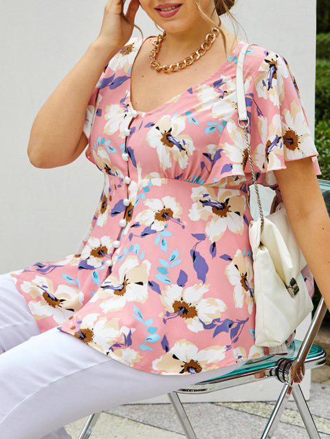 Plus Size Flower Butterfly Sleeve High Low Blouse