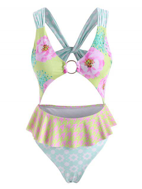 Flower Star O Ring Twisted Cutout Peplum One-piece Swimsuit