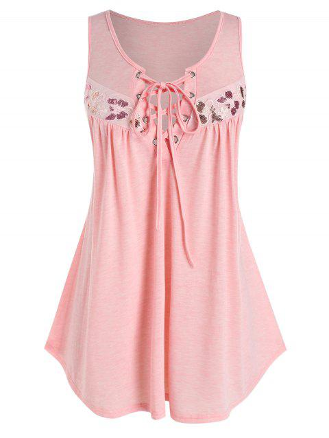 Plus Size Sequins Butterfly Pattern Tank Top