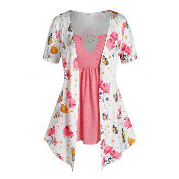 Plus Size O Ring Flower Butterfly Print 2 in 1 T Shirt