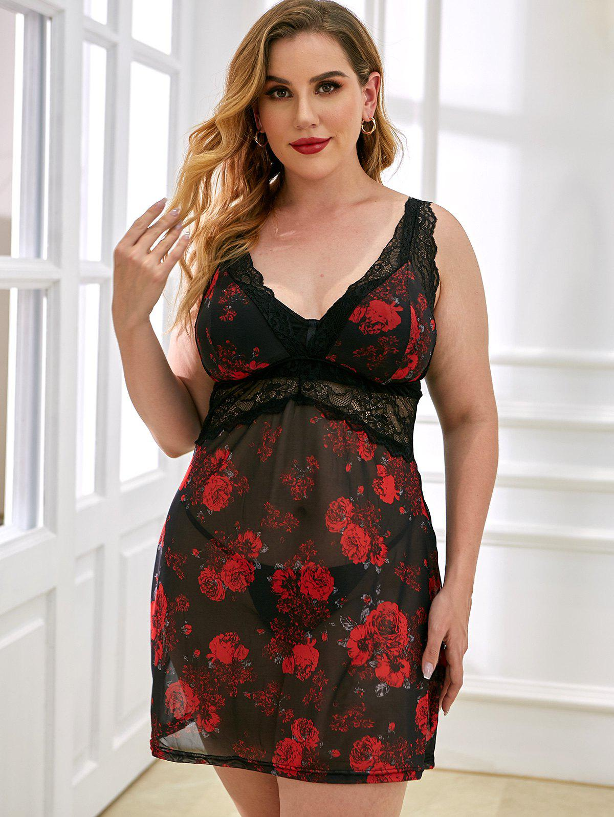 Plus Size Mesh Babydoll Red - Wholesale Lingerie,Sexy