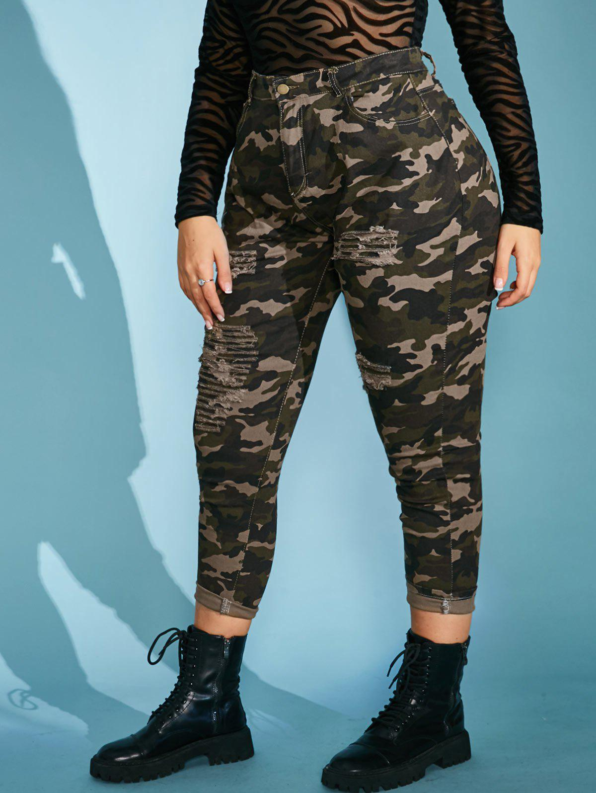 Plus Size Camo Ripped High Rise Pocket Jeans - LIGHT GREEN 5XL