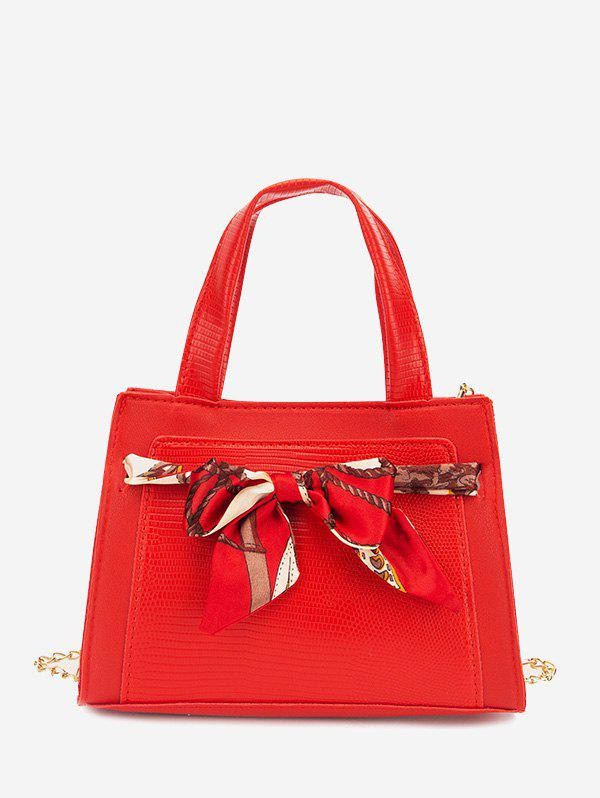 Lizard Embossed Scarf Bowknot Tote Bag - RUBY RED