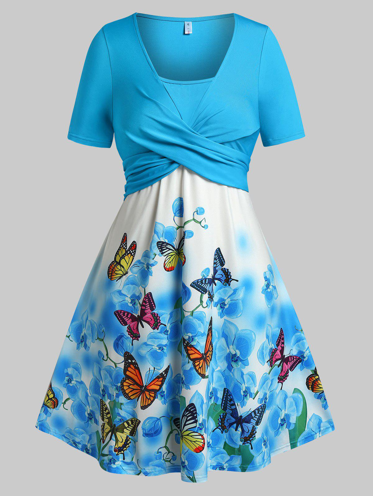 Plus Size Crossover Butterfly Floral Print Dress - BLUE L