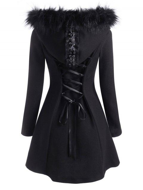 Faux Fur Hooded Lace Up Button Up Coat