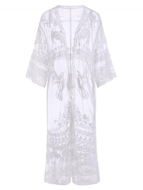 Tie Waist Sheer Lace Beach Cover Up