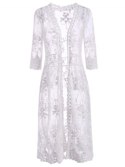 Open Front Floral Sheer Mesh Beach Cover Up