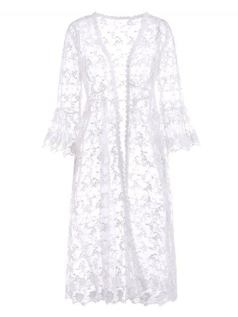 Leaves Floral Sheer Mesh Corchet Trim Beach Cover Up