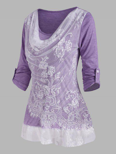 Lace Insert Cowl Front Roll Up Sleeve T Shirt