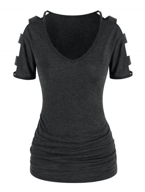 Casual Cut Out Sleeve T Shirt