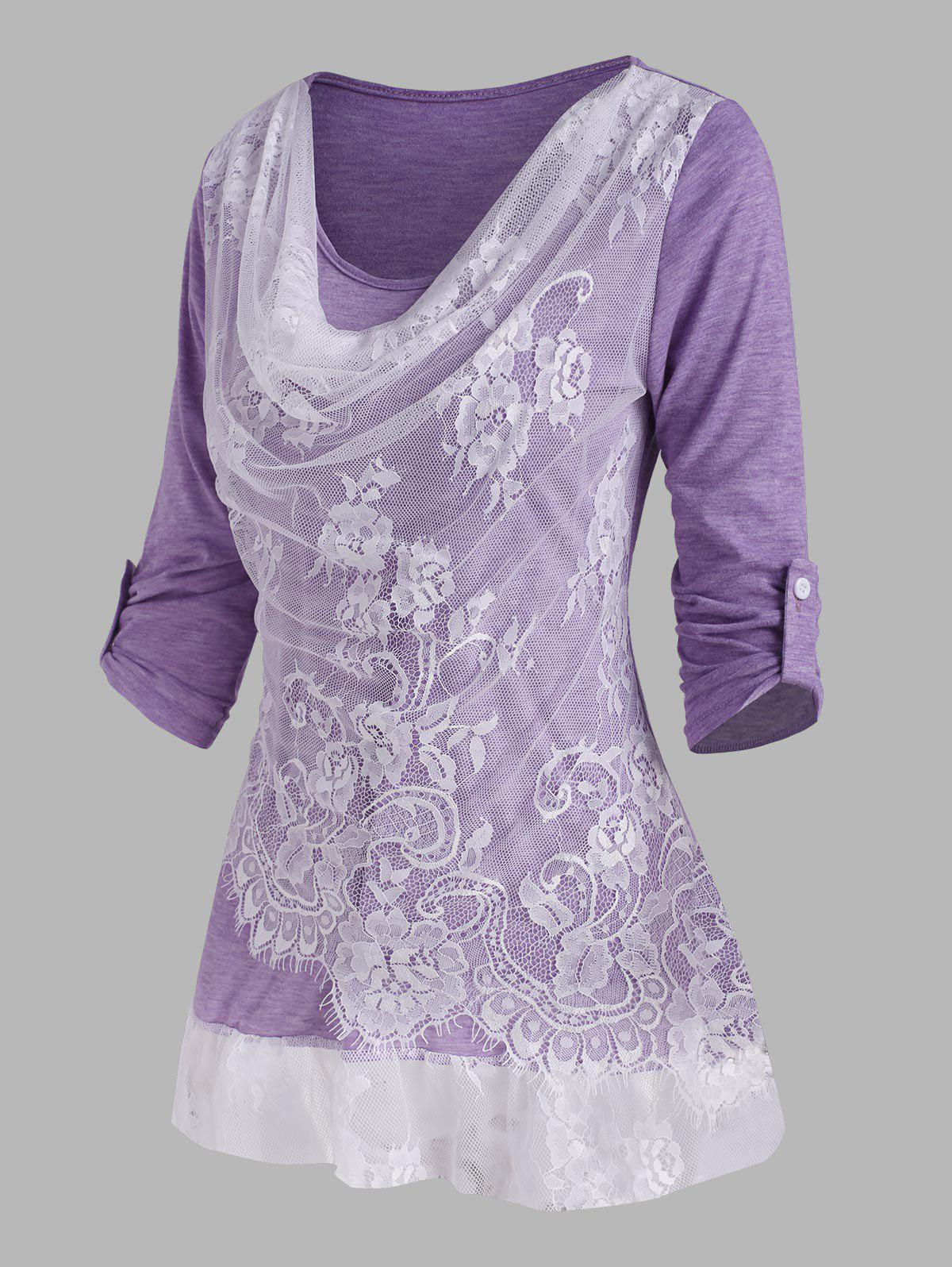 Lace Insert Cowl Front Roll Up Sleeve T Shirt - PURPLE XXL