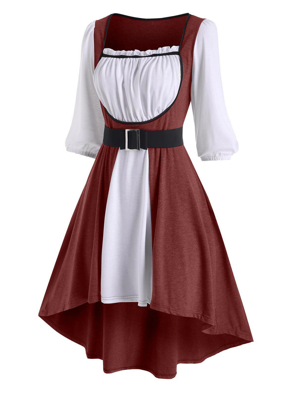 Colorblock Ruffle Belted High Low Dress - DEEP RED XXL