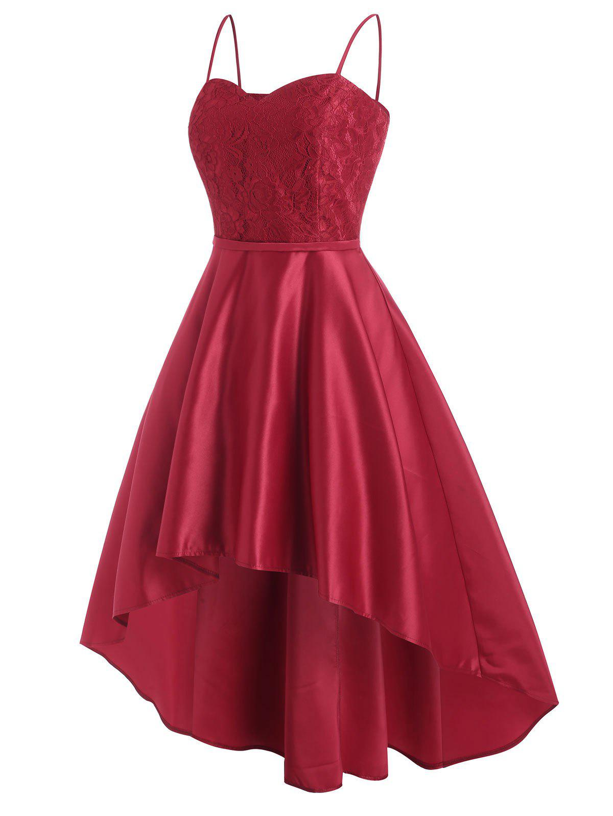 Flower Lace High Low Midi Party Dress - RED 2XL