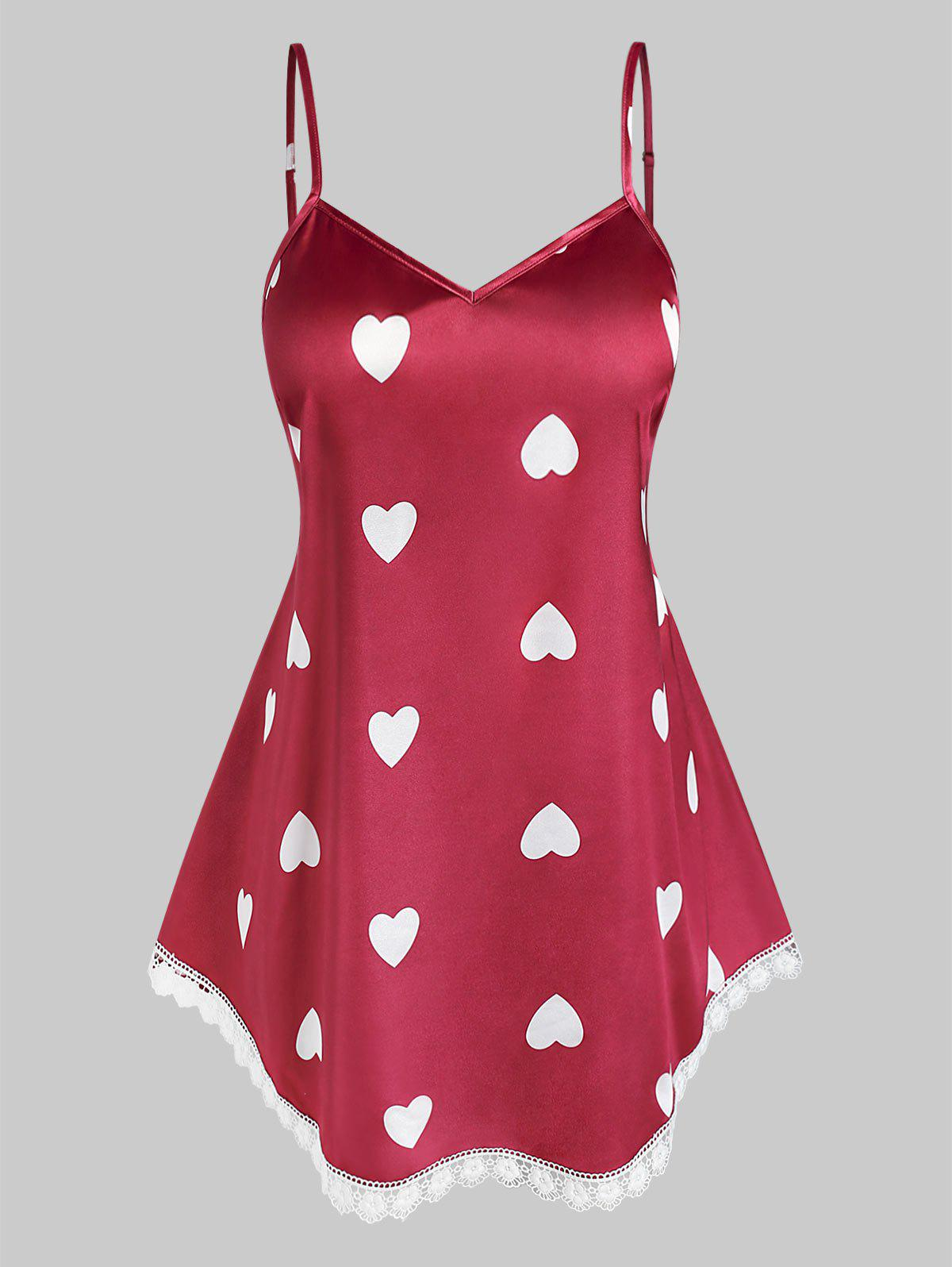 Plus Size Heart Printed Cami Tank Top - RED L